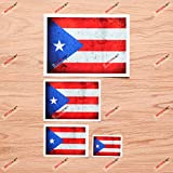 Puerto Rican Flag PR Puerto Rico Vinyl Decal Sticker - Grunge Subdued Vintage - 4 Pack Reflective, 2 Inches, 3 Inches, 4 Inches, 6 Inches - for Car Boat Laptop Cup Phone 03290A