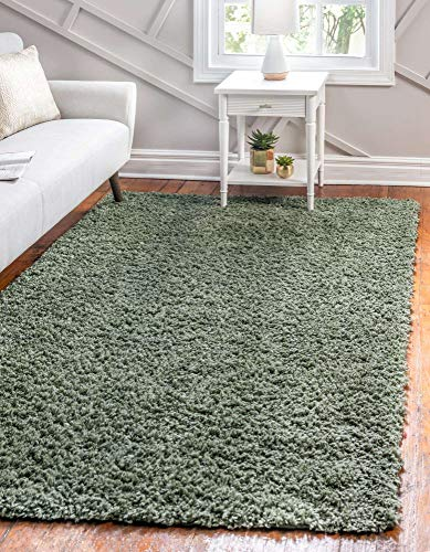 Unique Loom Davos Collection Modern Luxuriously Soft & Cozy Shag Area Rug, 8' 0 x 10' 0 Rectangular, Sage
