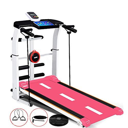 ZHONGXIN Cinta mecánica, máquina de Caminar Plegable con Pantalla LCD, 4 Modos de Deporte, Correr, torcer la Cintura, Abdominales, Cuerda de tracción, para el hogar/la Oficina
