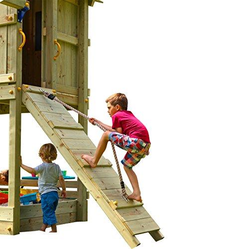 Demmelhuber Blue Rabbit 2.0 Anbaumodul Rampe mit Seil @RAMP Spielturm Erweiterung Kletterwand Kletterrampe mit Kletterseil