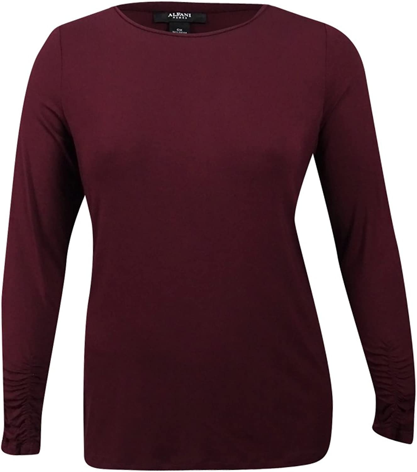 Alfani Womens Plus Ruched Crew Neck Casual Top Red 1X