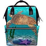 Mochila Portátil Ocean Sea Animal Turtle Mochila De Pañales De Gran Capacidad Bolsas para Bebés Cremallera Multifunción Unisex Travel Dad Mochilas Casuales Mamá 28X18X40Cm