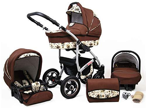 Lux4Kids Kinderwagen 3 in 1 Kombi Komplettset mit Autositz Isofix 2in1 Babywanne Babyschale Buggy Buggy Baby Larmax Braun & Eulen 2in1 ohne Babyschale