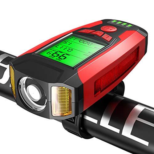 Luces Para Bicicleta, Linterna Para Bicicleta Con Múltiples Funciones De Bocina,Alarma,Velocímetro,Luces Antiniebla,5 Modos De Iluminación, Adecuado Para Iluminación De Montaña,Calle, Noche,Rojo