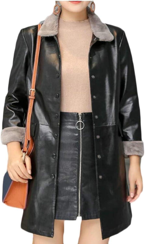 Qiangjinjiu Women Silm Jacket Warm Parka Faux Leather Fur Coat Solid Overcoat Outwear