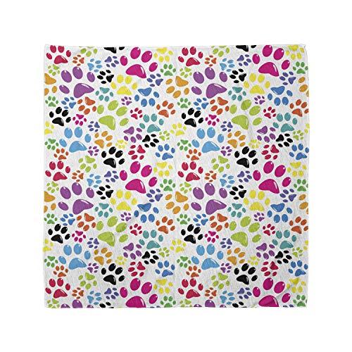 Ambesonne Unisex Bandana, Dog Cartoon Dog Paw Traces, Purple Blue