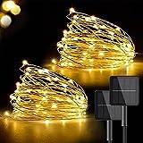 Guirnaldas Luces Exterior Solar [2 Pack], VOKSUN 17M 150 LED Cadena de Luces IP65 Impermeable 8 Modos de Luz Jardin Decoración, Decoracion para Navidad, Fiestas, Patio, Balcón, Dormitorio