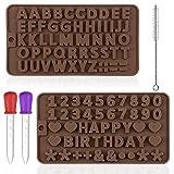 Maxin - Stampo in silicone per lettere e numeri, per caramelle al cioccolato, 2 pezzi