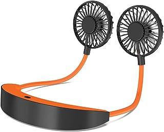 AISIR Ventilador USB Portátil, Ventilador Cuello Mini Ventilador USB Recargable 5200mAH Batería Trabajar para 6-10H, 360° Rotación Ventilador de Escritorio para Sport, Oficina, Hogar, Viajes-Naranja