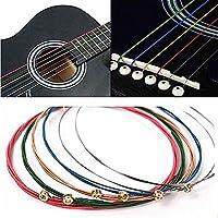 DINGGUANGHE 6ピースアコースティックギター弦虹色のカラフルなギターのステンレス鋼の文字列E-Aのためのアコースティックフォークギタークラシックギターアクセサリー (Color : Guitar Strings)