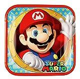 amscan 9901535 8 Papierteller Super Mario, Mehrfarbig, 23 cm