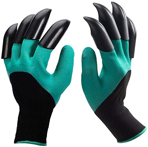 Gartenhandschuhe,Wasserdicht [1 Paar] langlebig stichsichere Safe Gartenarbeit Handschuhe mit ABS-Kunststoff Krallen für Haushalt und Garten Werkzeug Handschuhe Graben & Bepflanzen (grün)