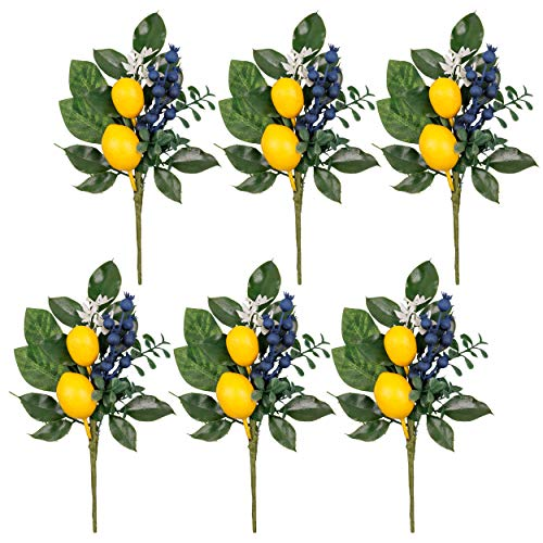Valery Madelyn 6 Packs Spring Picks with Lemon, Blueberry and Green Leaves, Artificial Floral Picks, Lemon Branches for Home, Summer Fall Autumn Decorations