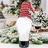 Zmk Adornos de Navidad Regalo, Muñeca de Gnomo Sueco de Navidad Botella de Vino Tinto Champán Cubierta de Botella de Copos de Nieve Festival