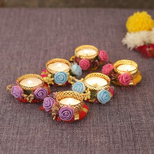 Portavelas para decoración del hogar, diseño de flores con tachuelas para decoración de Diwali (paquete de 6)