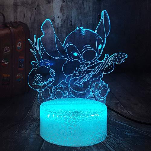 3d Led Crackle Weiß Basis Nachtlicht Happy Stitch Gitarre Spielen Mit Freunden Scrump Schlaf Tischlampe Wohnkultur Weihnachten