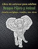 Bosque Pájaro y Animal - Libro de colorear para adultos - Gazella, zarigüeya, conejito, oso, otros