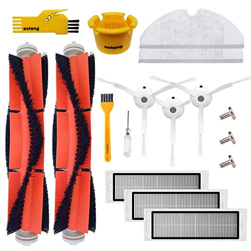 aoteng Accessory Kit for Xiaomi Mi Robot Roborock s50 s51 S5 S6 E25 E20 E35 Xiaomi Mijia Robotic Vacuum Cleaner Replacement Parts 14 Pcs Pack of Main Brush & Side Brush & Filter & Mop Cloth
