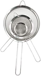 3PCS Stainless Steel Kitchen Fine Mesh Strainers with Handle, (2.6+4.6+7.1) inches for Juice Egg Tea Coffee Flour Filter and Rinse Vegetable Fruit