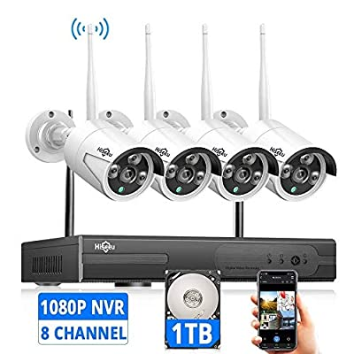 [Expandable 8CH] Wireless Security Camera System with 1TB Hard Drive with One-Way Audio, Hiseeu 8 Channel NVR 4Pcs 1080P 2.0MP Night Vision WiFi IP Security Surveillance Cameras Home Outdoor