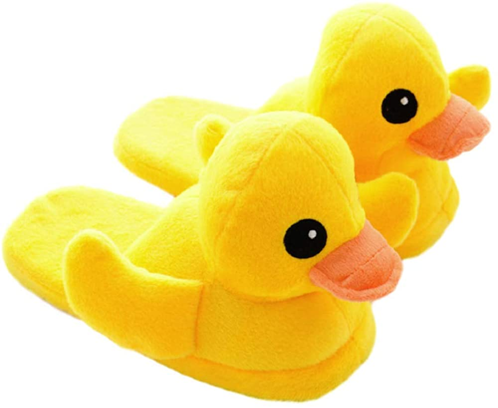 GK-O 1 Pair Yellow Duck Plush Cotton Slippers Household Shoes Antiskid Indoor Home Slippers