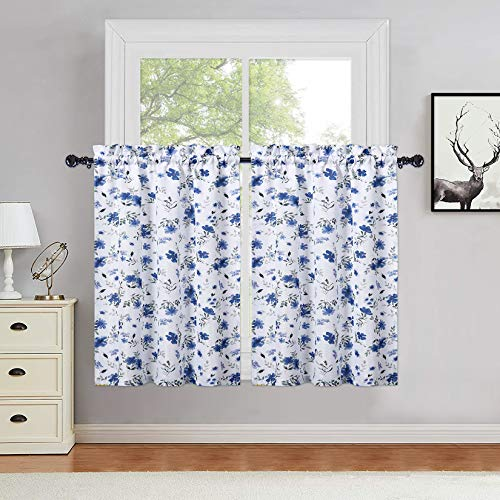 Haperlare Navy Blue Watercolor Floral Cafe Curtains 36 Inches Length, Farmhouse Flower Rod Pocket Short Tier Curtains for Kitchen Leaf Pattern Window Treatment Decor Curtains, Set of 2