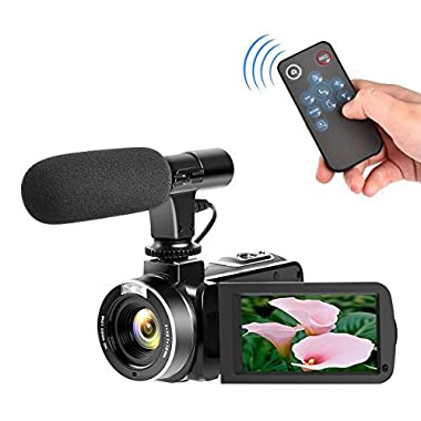 Camcorder with Microphone Digital Camera Full HD 1080p 30fps 24.0MP Video Camera for Youtube 3  LCD Touchscreen Camcorders Support Remote Controller