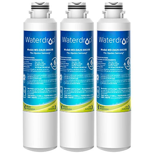 Waterdrop DA29-00020B Samsung Refrigerator Water Filter, Replacement for DA29-00020B, DA29-00020B-1, Haf-Cin/Exp, 46-9101, RF4267HARS, RF28HFEDBSR, RF28HMEDBSR, RF263BEAESR, 3 Pack