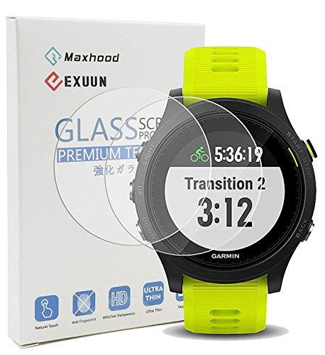 Maxhood (2 pacchi) Garmin Forerunner 935 pellicola protettiva in vetro, durezza 9H ultra sottile 0.3 mm 2.5d Round Edge pellicola proteggi schermo in vetro temprato per Garmin 935