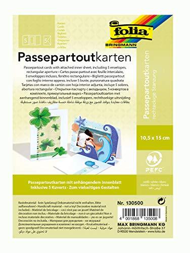 folia 130500 - Passepartouts mit rechteckiger Stanzung, ca. 10,5 x 15 cm, 5 Karten (220 g/qm) und Kuverts, weiß - ideal für Einladungen, Glückwunsch- oder Grußkarten