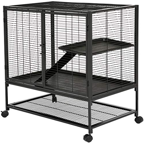 Amazon Basics Small Animal Metal Pet Cage with Wheels, Two-Story (63-Inch)