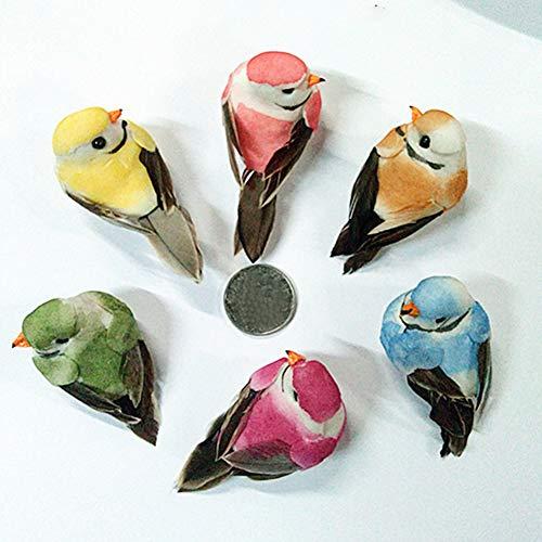 6 plumas artificiales de espuma con forma de pájaros decorativos, con imán para manualidades, decoración del hogar o el jardín