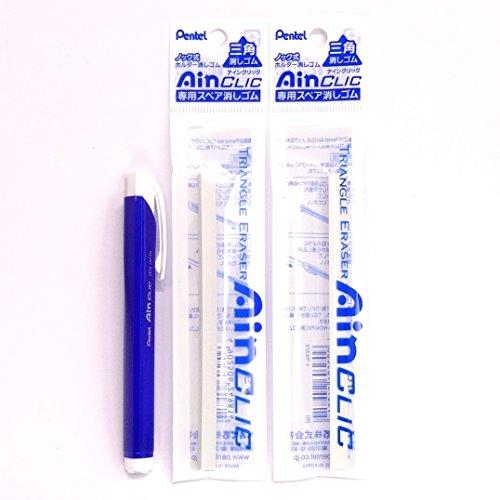 Pentel AinCLIC Stick Type Knock Eraser, Metal Blue (XZE15-MC) + Eraser Refills�2 Packs/total 2 Refills(Japan Import) [Komainu-Dou Original Package]