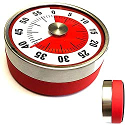 60 Minutes Kitchen Timer Mechanical Countdown Magnetic Cooking Timer Alarm Clock for Kids Teacher Classroom Toilet Homework Meeting, No Battery Required, Time Management Tool (Red)