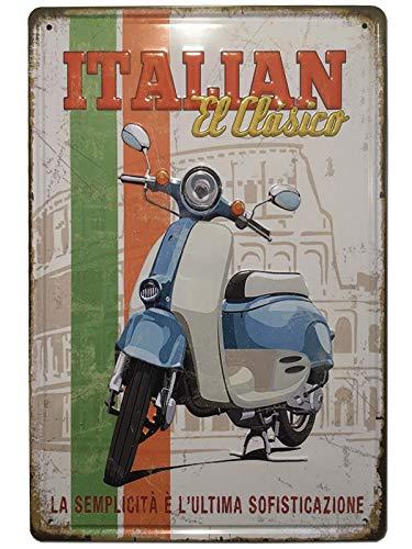 BOEMY Vintage Vespa Blechschild | Dekoschild aus Metall zur Dekoration von Motorrad Vespa für Garage, Werkstatt oder Haus | Maße 20 x 30 cm
