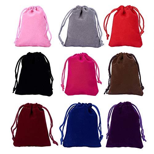 NBEADS Bolsas de Terciopelo de 9 Color, 18 Piezas de Cordón de Regalo de Terciopelo Pequeñas Bolsas de Tela para la Boda del Partido Favor de Embalaje, 9x7 cm