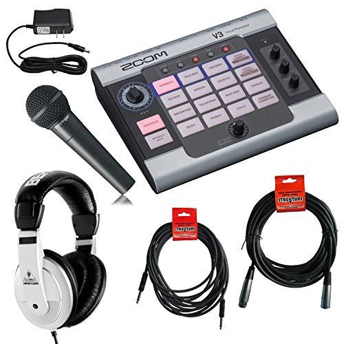 Zoom V3 Vocal Processor + Behringer XM8500 Cardioid Microphone + Behringer HPM-1000 Headphones + 20 ft XLR Cable + 18.6 ft Instrument Cable + 9V Power Supply