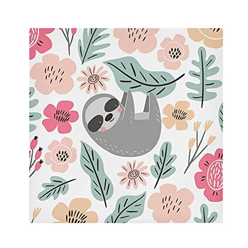 Cloth Napkins Funny Sloth leaves Dinner Napkins Set of 4 Washable Reusable Table Napkins Satin Decorative Napkins for Holiday Dinners Wedding Cocktail Party, 20 x 20 Inch