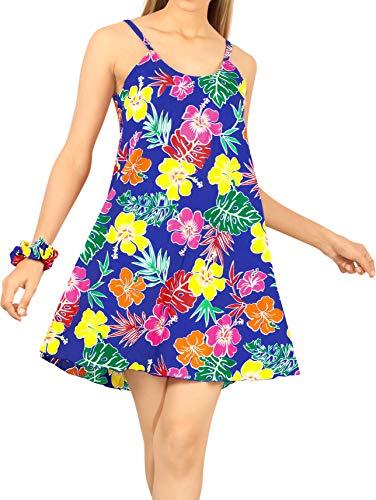 LA LEELA Traje de Fiesta Hawaiana Ocasional Vestido caftán Playa de Las Mujeres Azul Real_Z57 XL