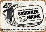 HUIOP Sardinas de Maine Original Vintage Design Bar Rules Tin Metal Wall Art Signage - Póster de impresión de hojalata gruesa para barra 20 x 30 cm