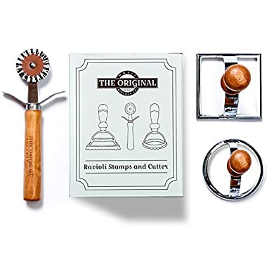 The Original Ravioli Maker Set Featuring A Round Stamp, Square Stamp and Cutter Wheel
