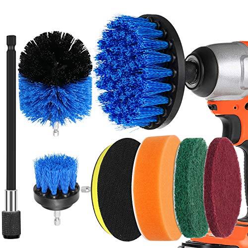 Dreamtop Kit de 8 cepillos de taladro con almohadilla de estropajo, extensor de esponja de pulido, kit de limpieza para baño, cocina, piso, baldosas de piscina, coche