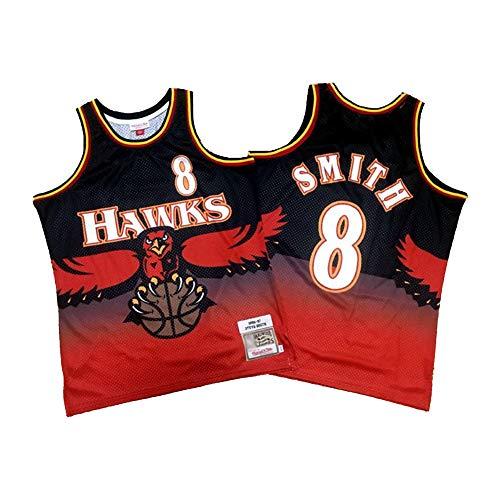 Steve Delano Smith Herren Basketball Trikots, Atlanta Hawks 8# Retro Gym Sport Tops, 90er Jahre Hip Hop Kleidung für Party-M