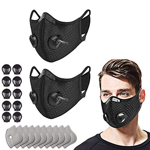 2 Mesh Respirator with filter, 10 filters and 10 valves, replaceable filter and washable Respirator, suitable for running, cycling, outdoor activities (black)