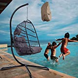 Egg Chair Rattan Wicker Hanging Outdoor Chair with Stand Indoor Outdoor Chair Swing with Cover for Kids Teens Adults Comfortable Hammock Chair for Patio Yard Living Room Bed Room (Dark Grey+Cover)
