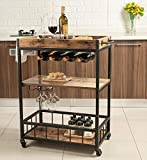 Tayene Bar Serving Cart Home Myra Rustic Mobile Kitchen Serving cart,Industrial Vintage Style Wood Metal Serving Trolley (Rustic Brown-A)
