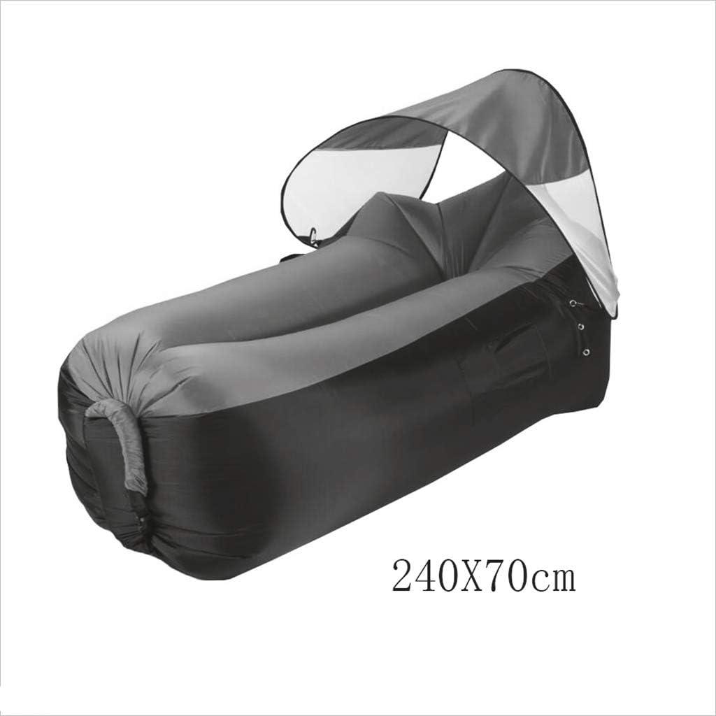 JiuErDP Sofa gonflable paresseux gonflable de loisirs de lit extérieur portatif, sac de couchage pliable parasol confortable lit de plage (Color : Black yellow) Purple Blue