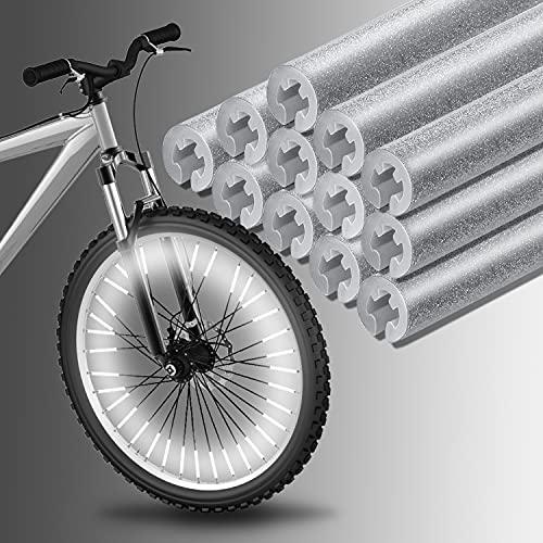 Bililike Fahrrad Reflektoren, 60 Stück Speichenreflektoren Fahrrad Kinder, Speichen Reflektor Sticks 360° Reflektoren Fahrrad (Silber)