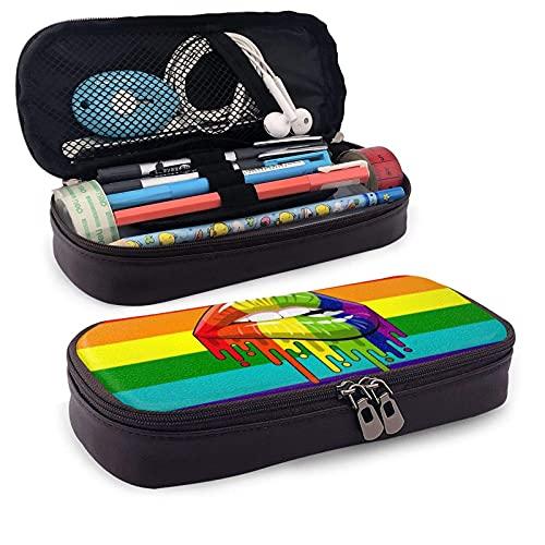 Lésbico Rainbow Lip Pride - Estuche de piel para lápices de gran capacidad, resistente al desgaste, doble cremallera, bolsa de papelería