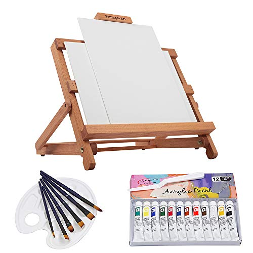 Falling in Art 23 Piece Acrylic Painting Set of 12 Colors with Adjustable Table Easel, Canvas Panels, Brushes, Palette and More